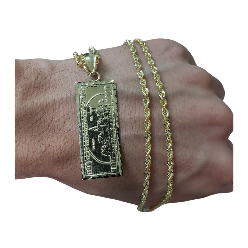 10K Rope Chain + 100DollaBill Pendant 10 Karat LA500