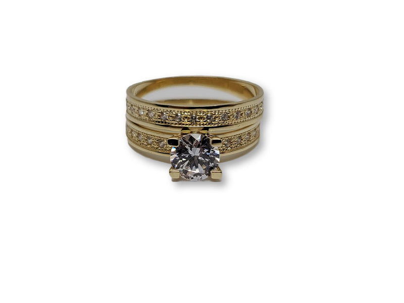 Solitaire Double Ring in Gold for Women 10K WCR0017