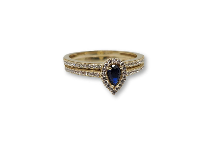 Blue Pear Ring in Gold for Women 10K WCR0016