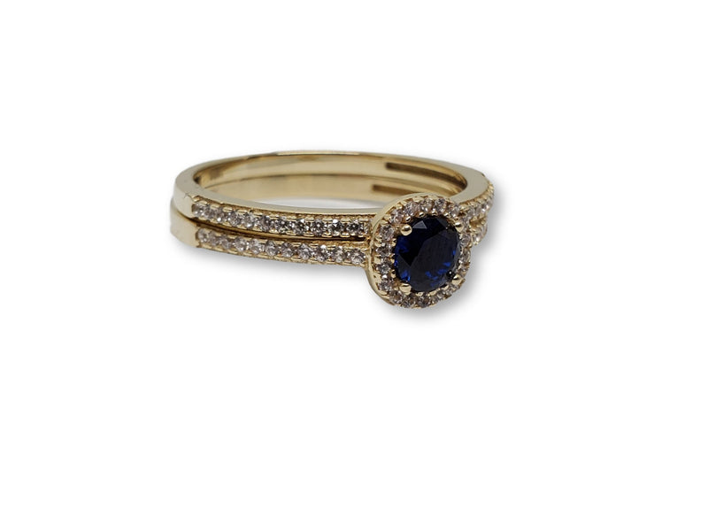 Blue Round Ring in Gold for Women 10K WCR0013