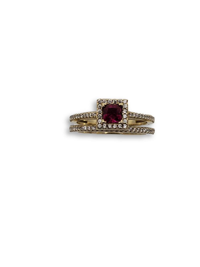 Halo Red Ring in Gold for Women 10K WCR0014