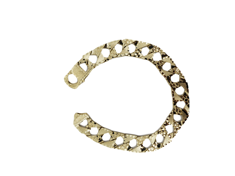 12mm Curb Bracelet 10k Yellow Gold MMB-018