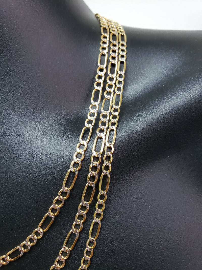 4.5mm Figaro Chain Diamond Cut 10K Yellow Gold FD45