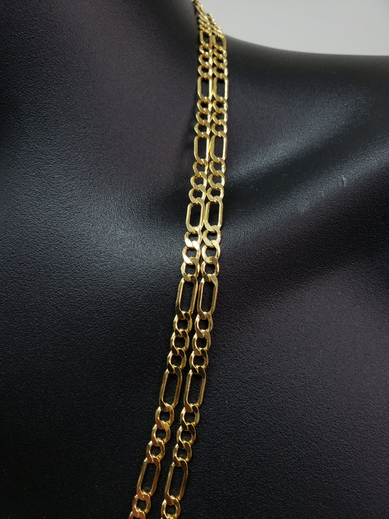 4.5mm Figaro Chain 10k yellow Gold F45