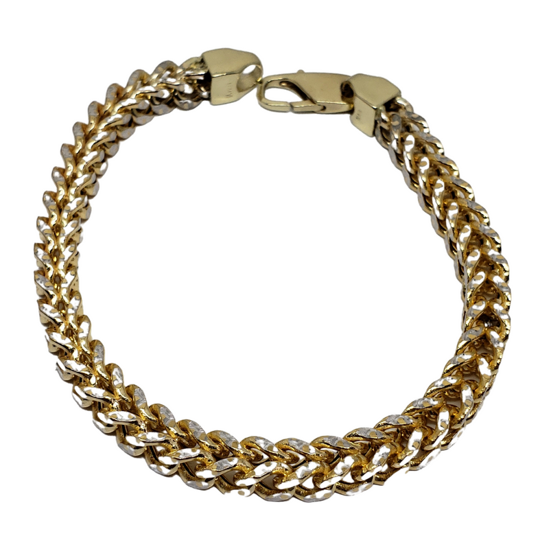 6.5 mm 2 tone Franco 10K Yellow Gold Bracelet for Men B2-FR65