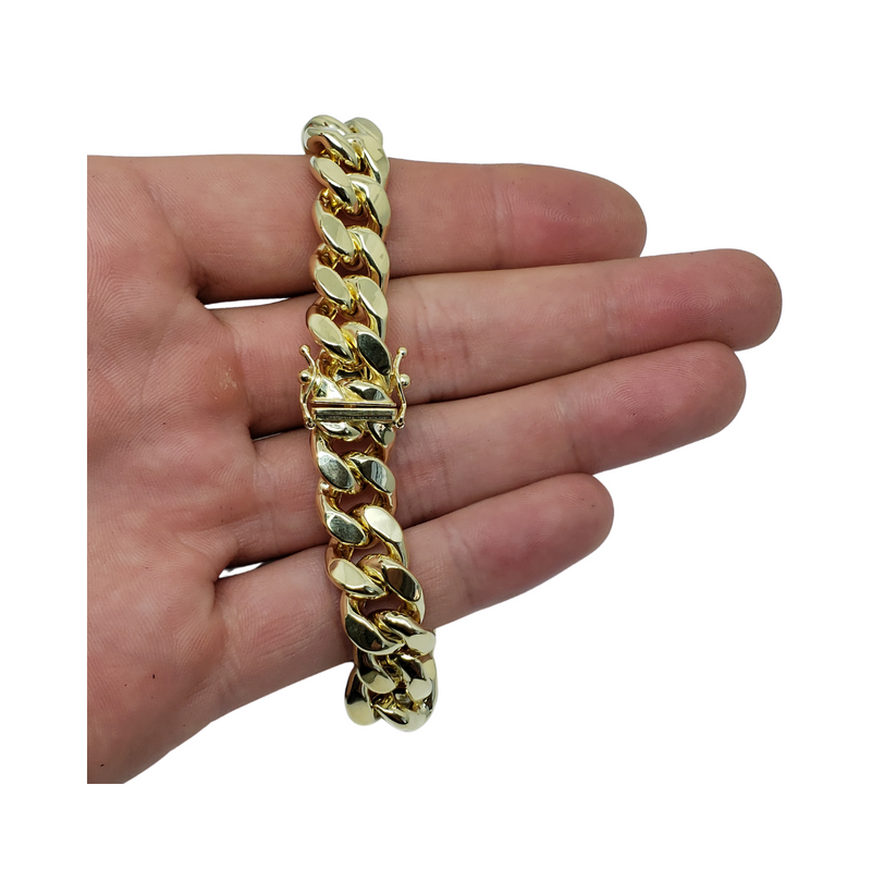 Bracelet Miami Cubaine Link 11mm en or 10k Italien | Miami Cuban Link Bracelet for Men 11mm Italian Yellow Gold 10k B-MC11-Gold Custom