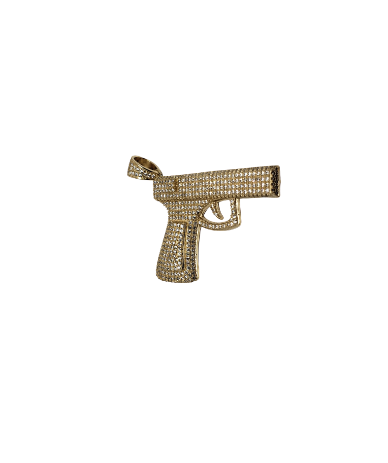 9MM Pistol Pendant in 10K Gold LA100