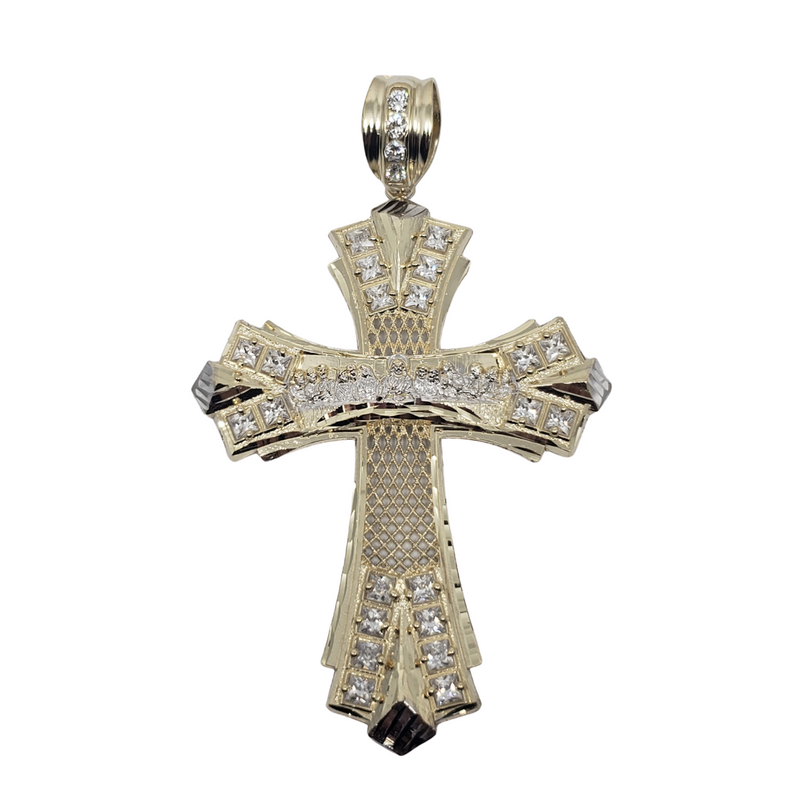 The Last Supper Cross Pendant JUMBO in 10K LA111