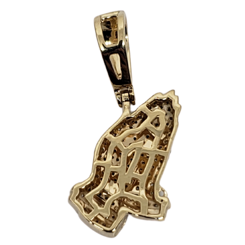 Prayer-hand 0.35ct Gold Pendant in 10k Gold SP 10908