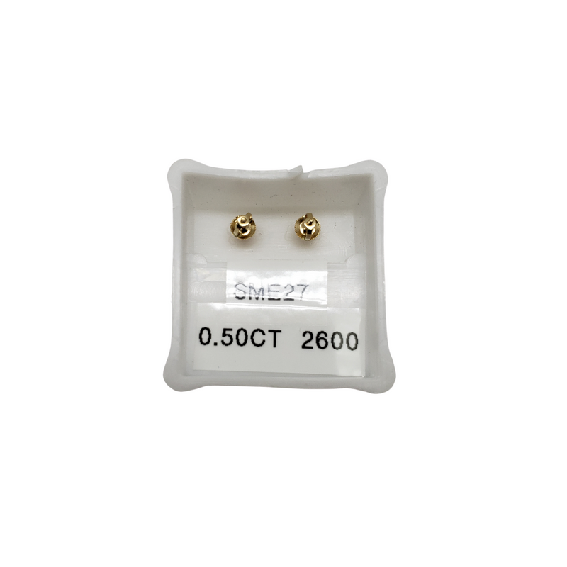 10K 0.50CT Diamond Stud Screw Back Earring DE-011