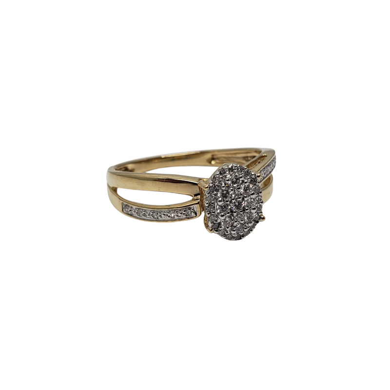 Cintia 14K Gold Oval Diamond Ring BUR-375