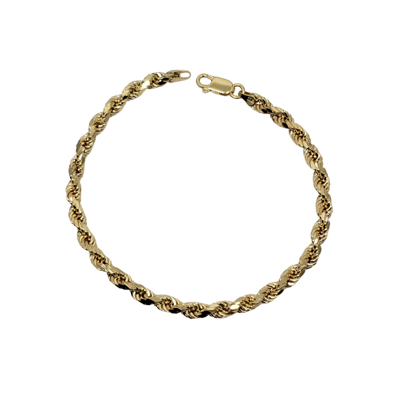 4.3mm Rope Chain Bracelet 10K Yellow Gold Bracelet for Men RCB002