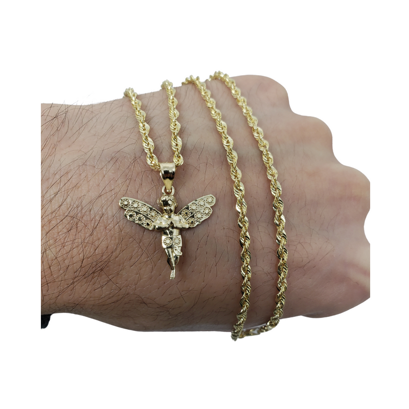 10K Yellow Gold Rope Chain with Angel Pendant GC-028