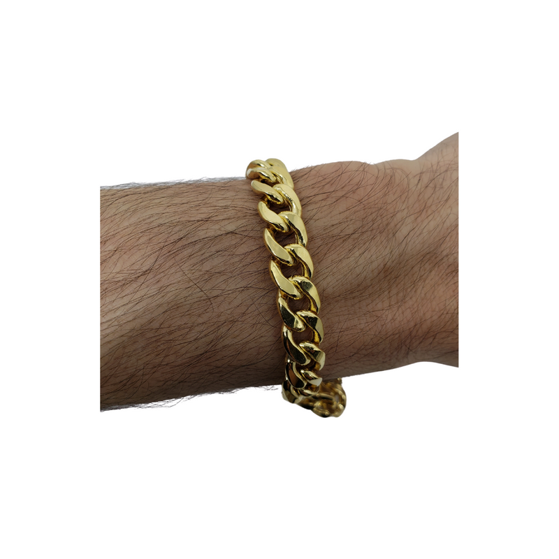 9.8mm Miami Cuban Link 10K Yellow Gold Bracelet for Men BMC005