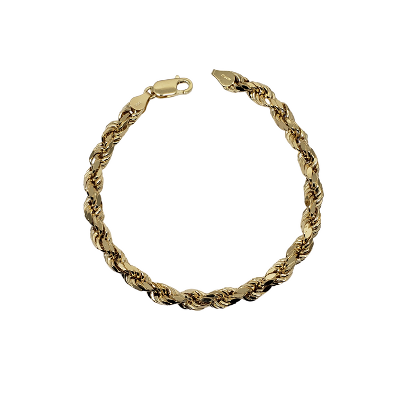 6.04mm Rope Chain Bracelet 10K Yellow Gold Bracelet for Men RCB004