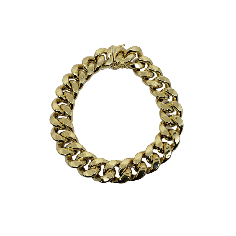 Bracelet Miami Cubaine Link 13mm en or 10k Italien | Miami Cuban Link Bracelet for Men 13mm Italian Yellow Gold 10k B-MC13-Gold Custom