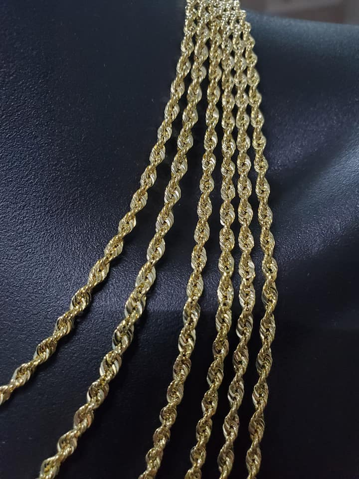 Rope Chain with Italian Laser Cut 3MM Yellow Gold | Chaine pour homme en or jaune 10kt Laser Cut 3MM-Gold Custom