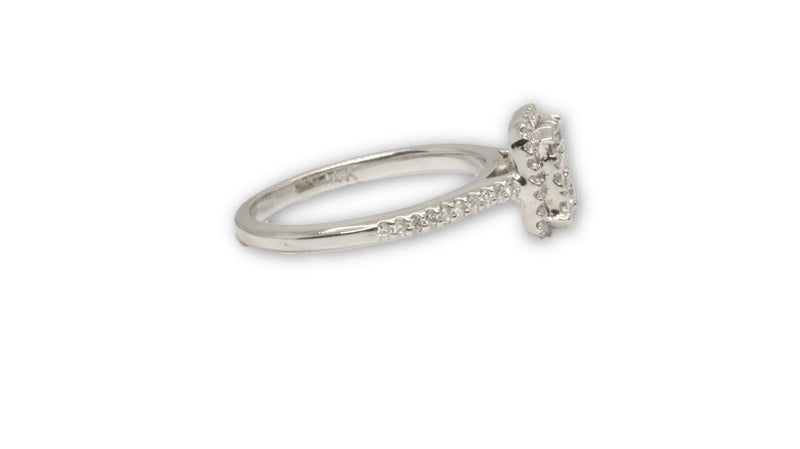 Bague de prestige Halo 0.38ct si diamants en or blanc 14K pour femme - orquebec