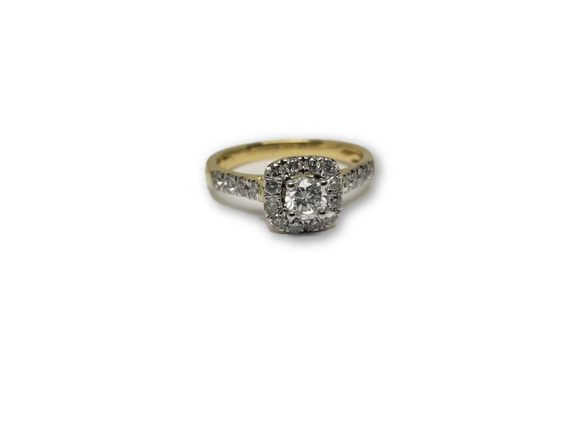 Bague Halo 0.75ct de diamants en or jaune 14k ( DISPONIBLE EN JANVIER 2019) - orquebec