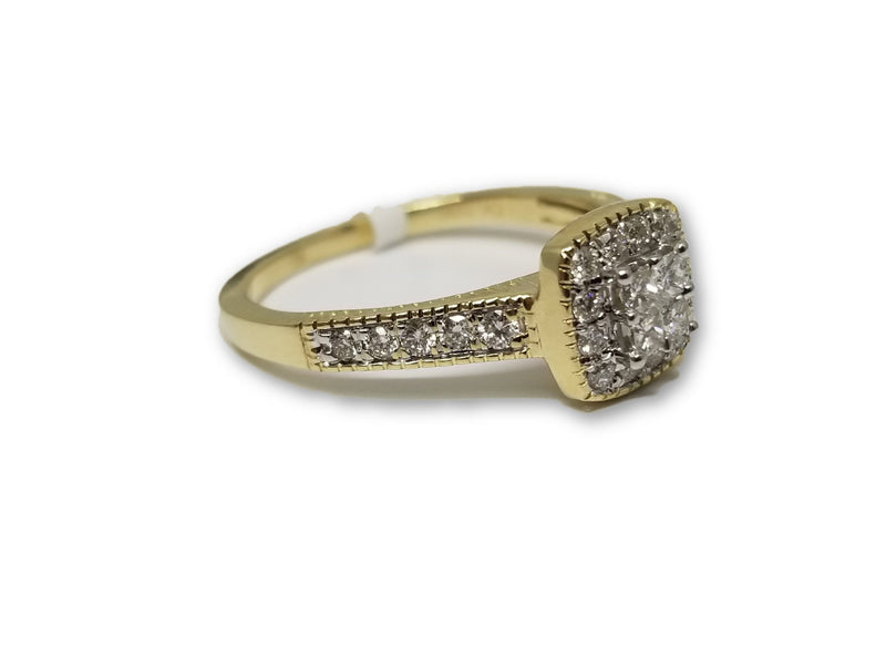 Bague Halo en or jaune 10k 0.40ct de Diamants - orquebec