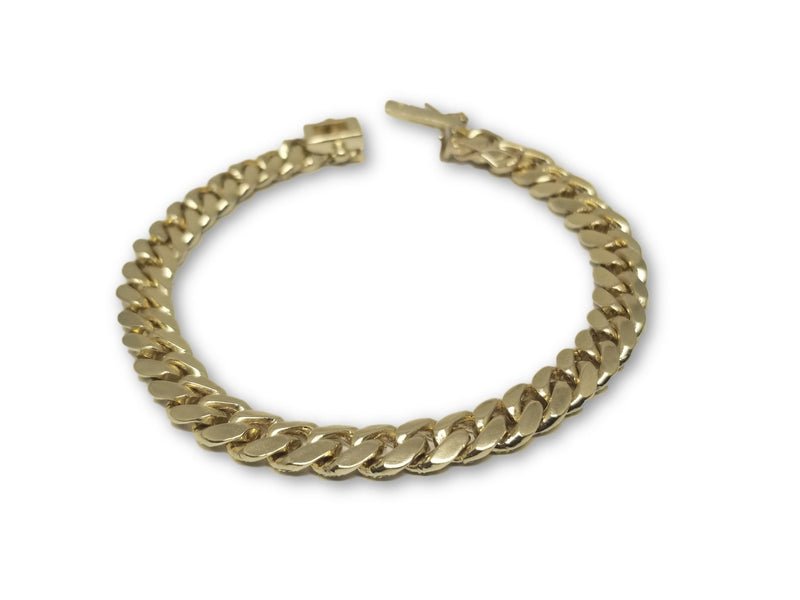 Bracelet MiamiCubanLink Solid 8mm en or 10K Box Lock - orquebec