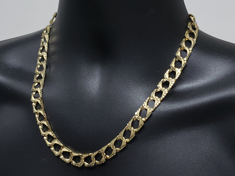 Cha?®ne gourmette coupe diamant 10K Nouveaut?© | Diamond Cut Chain in gold 10K new for men-Gold Custom