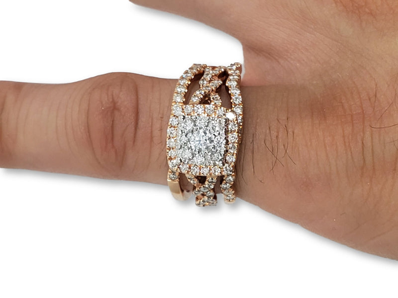 fiançailles+mariage  infini Double   1.00ct diamants  Princess Cut  Vintage - orquebec