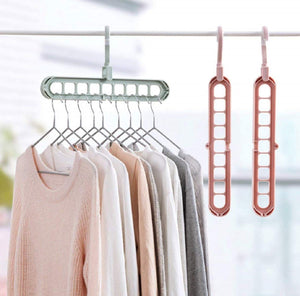 GujjuFactory Wardrobe Space Saver Folding Hangers, Hangers for Clothes Wardrobe,1 Pack Anti-Skid Plastic Magic Clothes Hanger - 360º Swivel Hook - 9-Holes Design Closet Organiser Hanger (Random Colour)