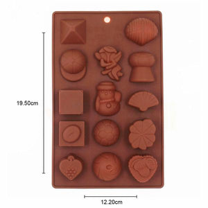 Gujjufactory Food Grade Non-Stick Reusable Silicone Multi Shape 14 Cavity Chocolate Molds/Baking Trays (Multicolor)