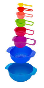 Gujjufactory Plastic Washing/Mixing Bowl and Measuring Cup and Spoon Set (8pcs Multicolor)