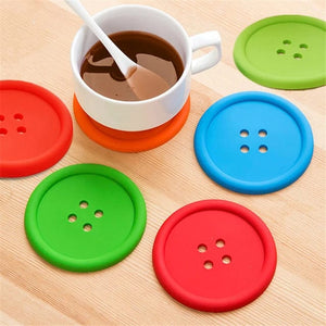 Gujjufactory Tea Coasters [Cute As a Button / 5-Pcs] Plastic Heat Resistant/Non-Slip Coasters for Coffee, Tea & Other Hot or Cold Drinks