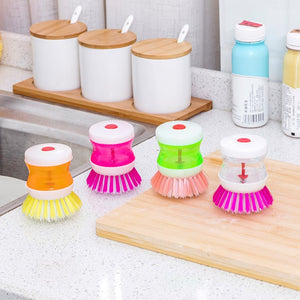 Gujjufactory Dish/Washbasin Plastic Cleaning Brush with Liquid Soap Dispenser / Liquid Washing Brush