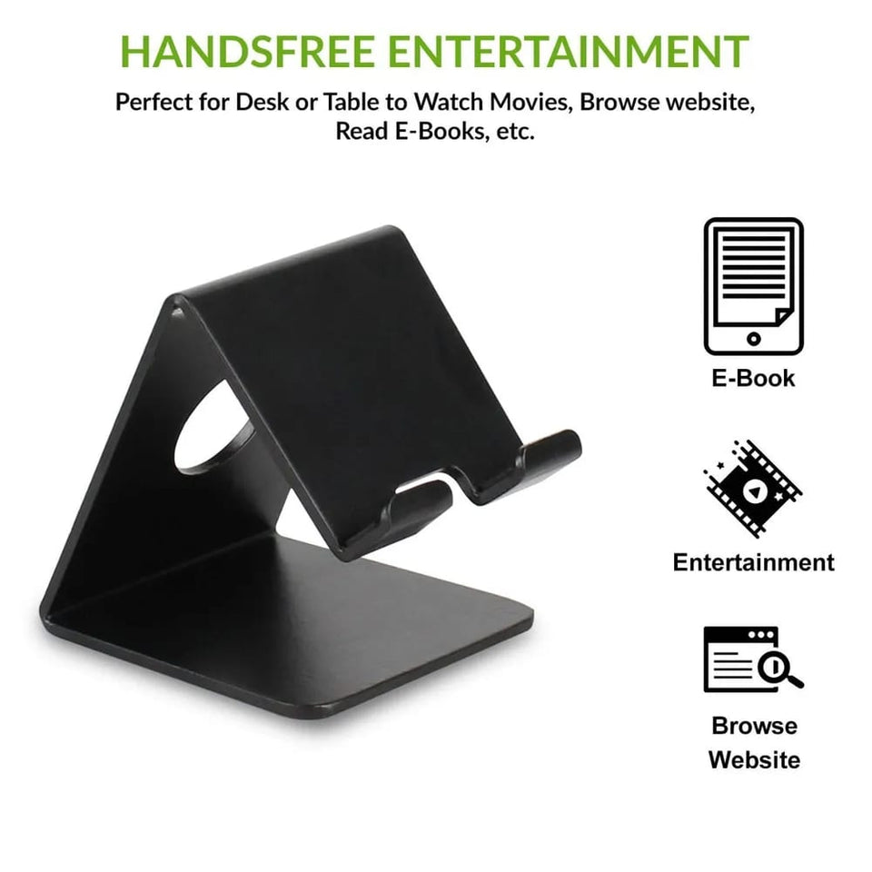 Gujjufactory Desktop Cell Phone Stand Tablet Stand, Aluminum Stand Holder for Mobile Phone (All Size) and Tablet (Up to 10.1 inch) - Black