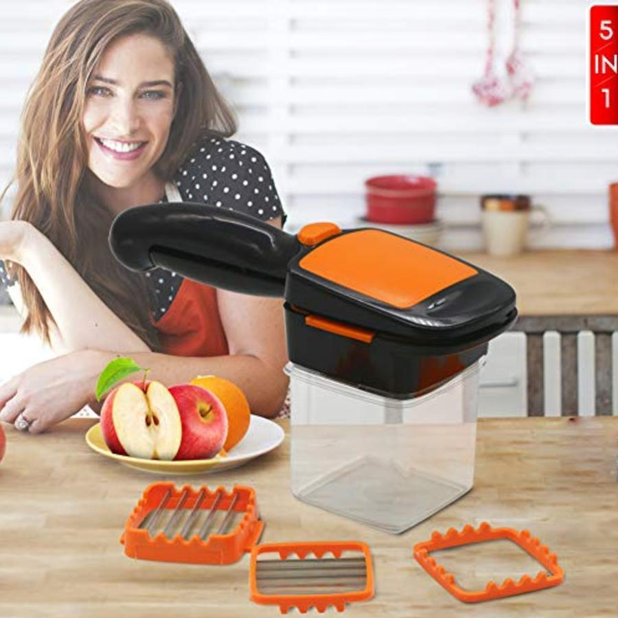 Gujjufactory 5 in 1 Multifunction Vegetable Cutter Manual Nicer Dicer with Container Box