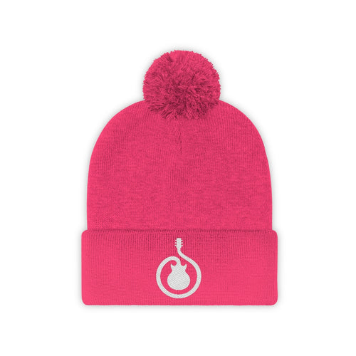 Guitar Swirl - Embroidered Pom Pom Beanie - Winter Hat
