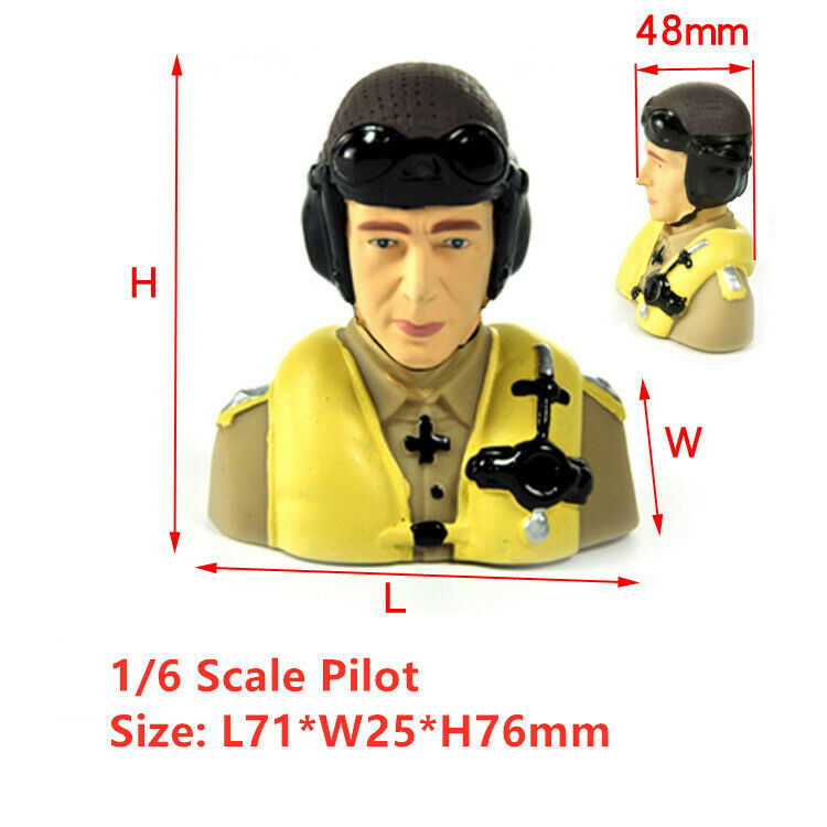 Miracle 1/6 Scale WWII Germany Pilots L71*W45*H76mm For RC Airplane Aircraft