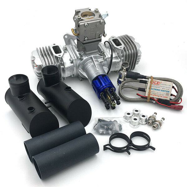 DLE 130CC Twin Cylinder Gasoline Engine with Electronic Ignition CDI & Muffler