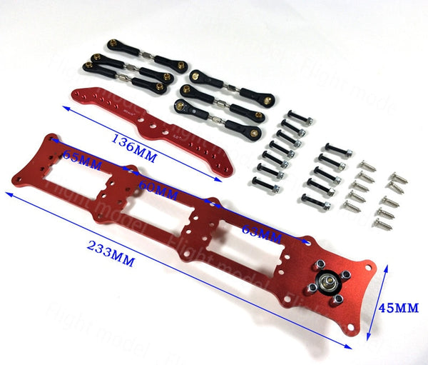 Aluminum Alloy Servo Rudders Mount Rudder Tray Set with 5inch Double Servo Arm