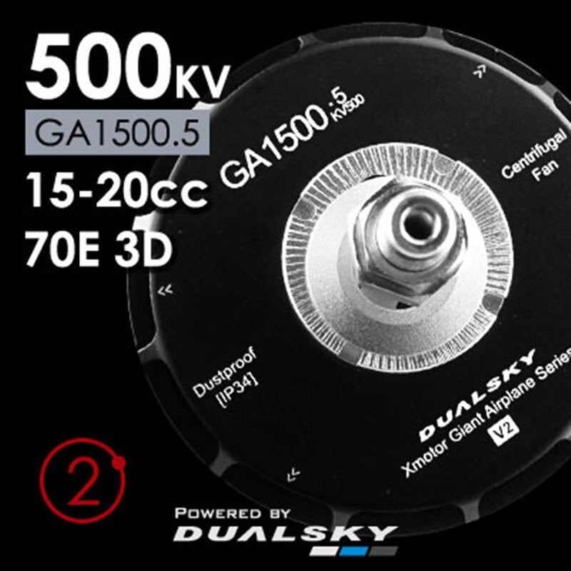 Dualsky GA1500 Brushless Motor 500KV For 70E Class RC Fix Wing Airplane