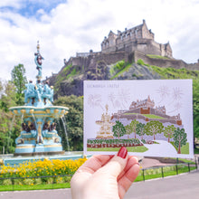 Load image into Gallery viewer, Edinburgh Castle Postcard - Victoria Rose Ball