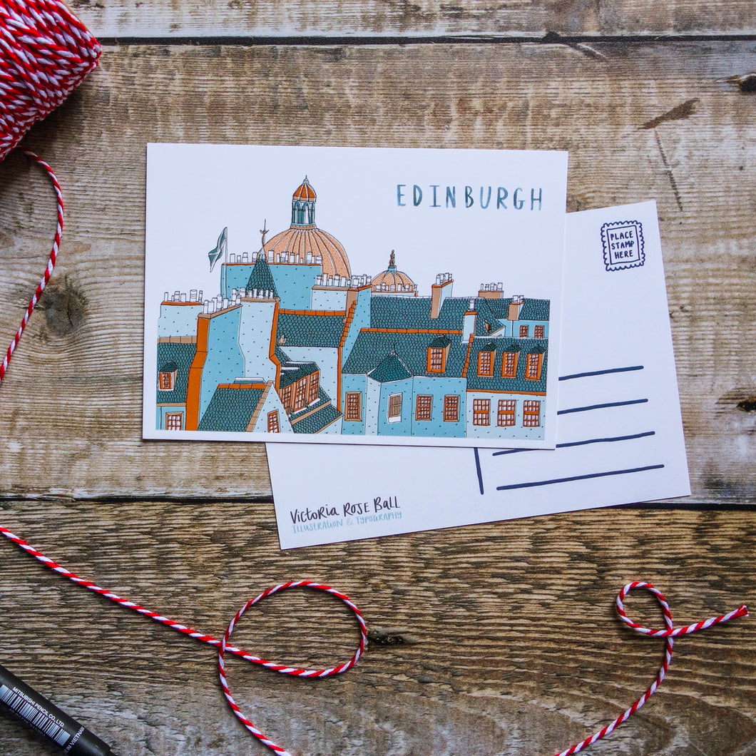 Edinburgh Skyline Postcard - Victoria Rose Ball