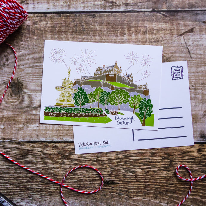 Edinburgh Castle Postcard - Victoria Rose Ball