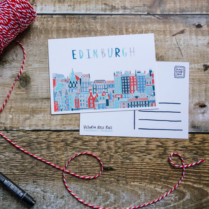 Edinburgh Cityscape Postcard - Victoria Rose Ball