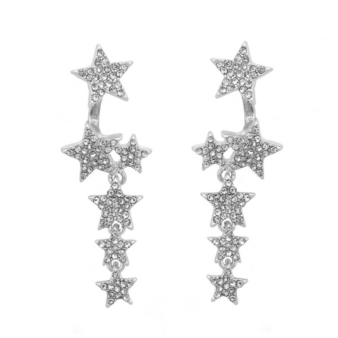 Multi-way Crystal Star Tennis Earrings in Silver
