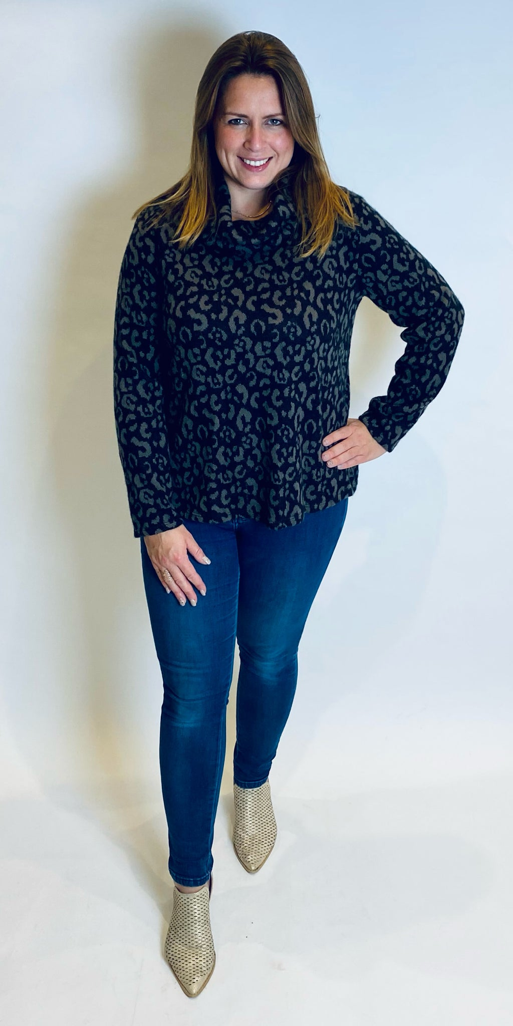 Animal Print Roll Neck Top