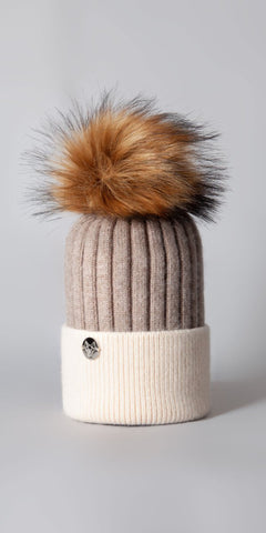 LUXY Faux Fur Cable Hat in Oatmeal & Ivory