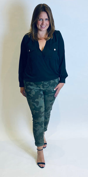 Rinascimento Military Wrap Front Blouse in Black