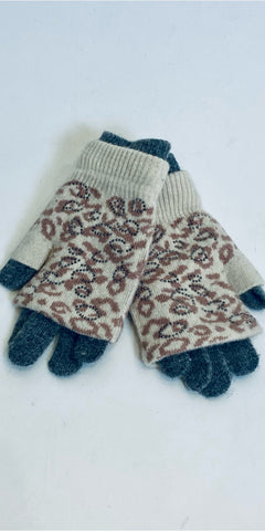 Sparkly Leopard Gloves in Cream