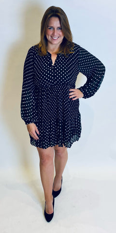 smf Polka Dot Fine Pleat Dress