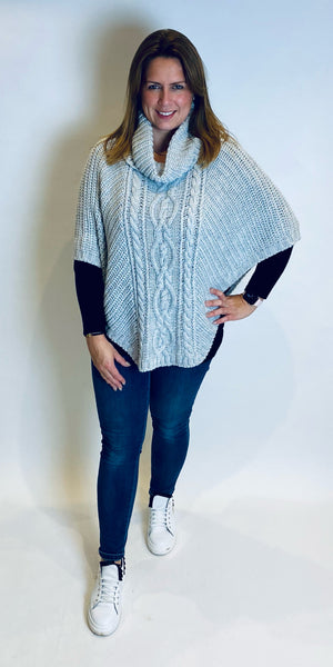 Cable Knit Roll Neck Poncho